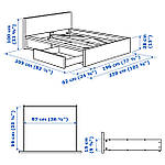 IKEA MALM Кровать высокая, 2 ящика, коричневый окрашенный Шпон (791.571.73), фото 8