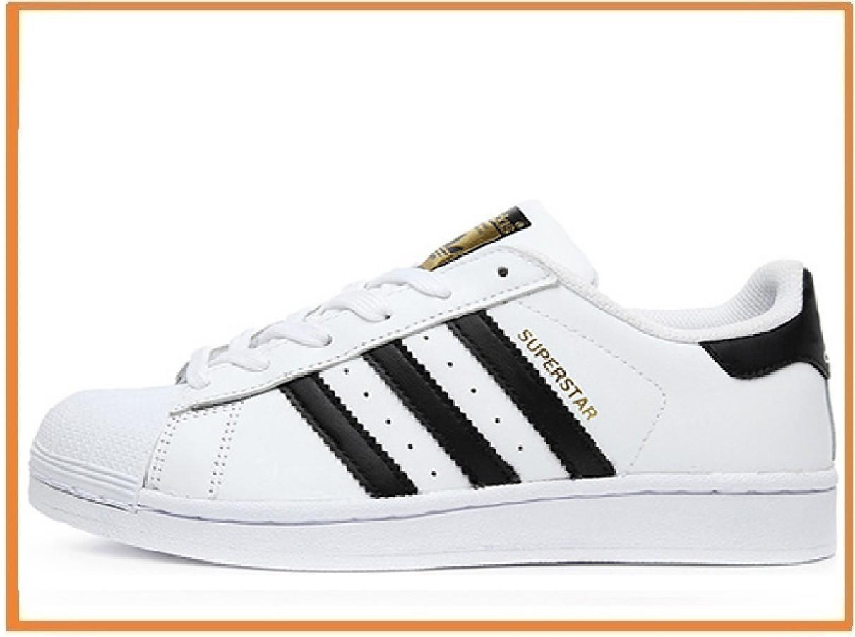 e520ed30 Женские кроссовки Adidas Superstar White Black Gold (адидас суперстар,  белые / черные) -