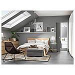 IKEA MALM Кровать высокая, 4 ящика, белый стаинедед дубовый шпон, (991.750.72), фото 3