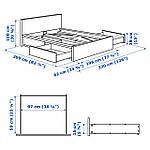 IKEA MALM Кровать высокая, 4 ящика, белый, Лурой  (390.024.42), фото 8