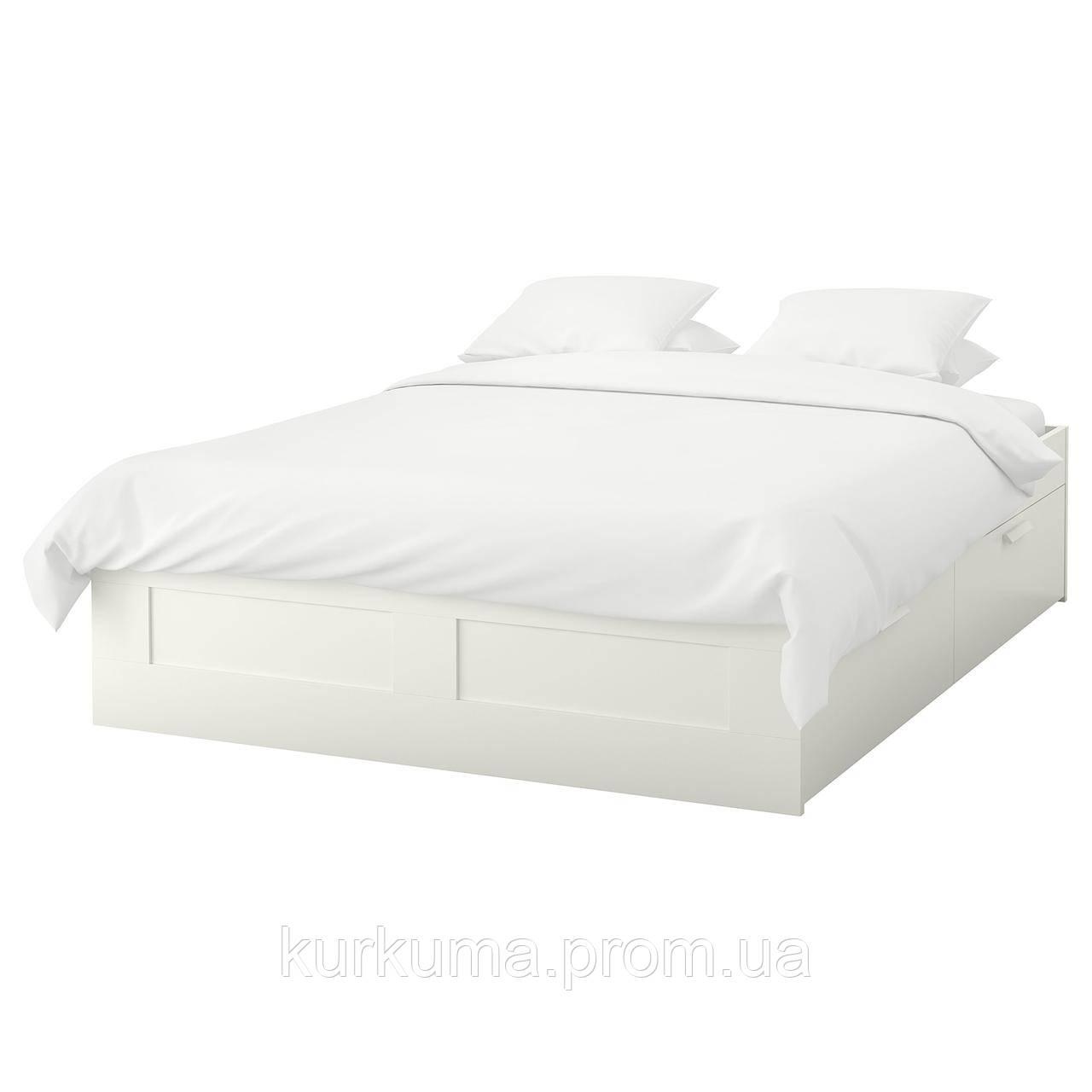 IKEA BRIMNES Кровать с ящиками, белый, Лурой  (099.029.34)