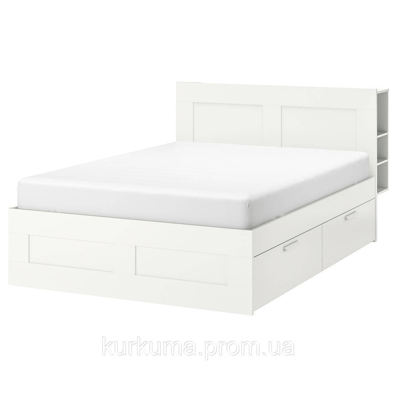 IKEA BRIMNES Кровать с ящиком для хранения и изголовьем, белый  (590.991.55)
