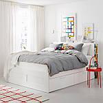 IKEA BRIMNES Кровать с ящиком для хранения и изголовьем, белый  (590.991.55), фото 2
