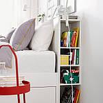 IKEA BRIMNES Кровать с ящиком для хранения и изголовьем, белый  (590.991.55), фото 3