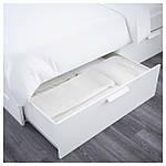 IKEA BRIMNES Кровать с ящиком для хранения и изголовьем, белый  (190.991.57), фото 5