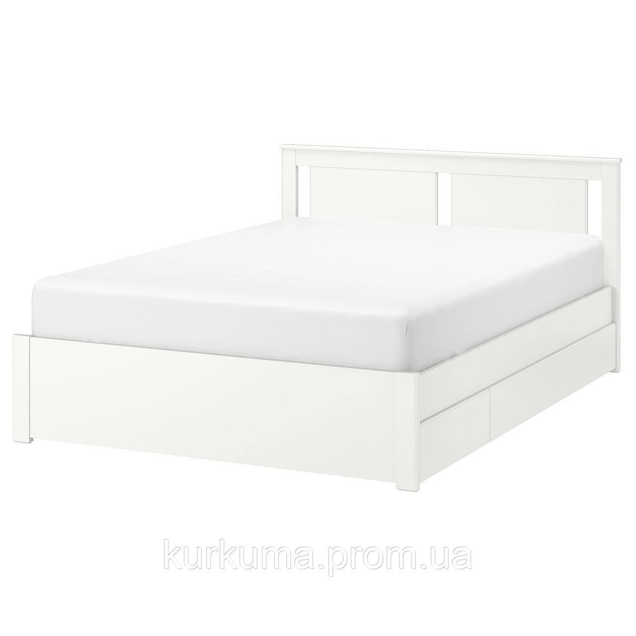 IKEA SONGESAND Кровать с 2 ящиками, белый, Лонсет  (892.412.56)