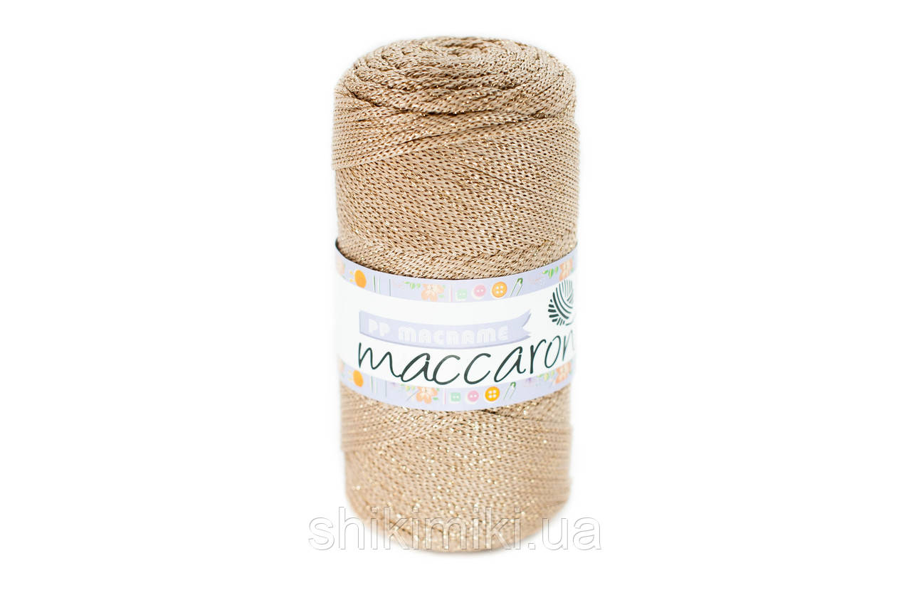 Трикотажный полиэфирный шнур с люрексом PP Macrame, цвет Пшеничный