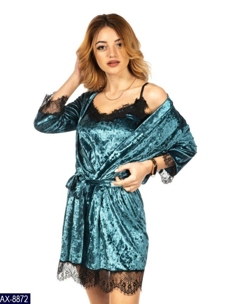 Жіноча красива оксамитова піжама 42 44 46 48 розмір є кольори