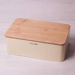 Хлебница с бамбуковой крышкой-досточкой Kamille 33 х 21 х 12 см из нержавеющей стали прямоугольная