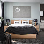 IKEA MALM Кровать высокая, беленый дубовый шпон, Леирсунд  (991.751.71), фото 8