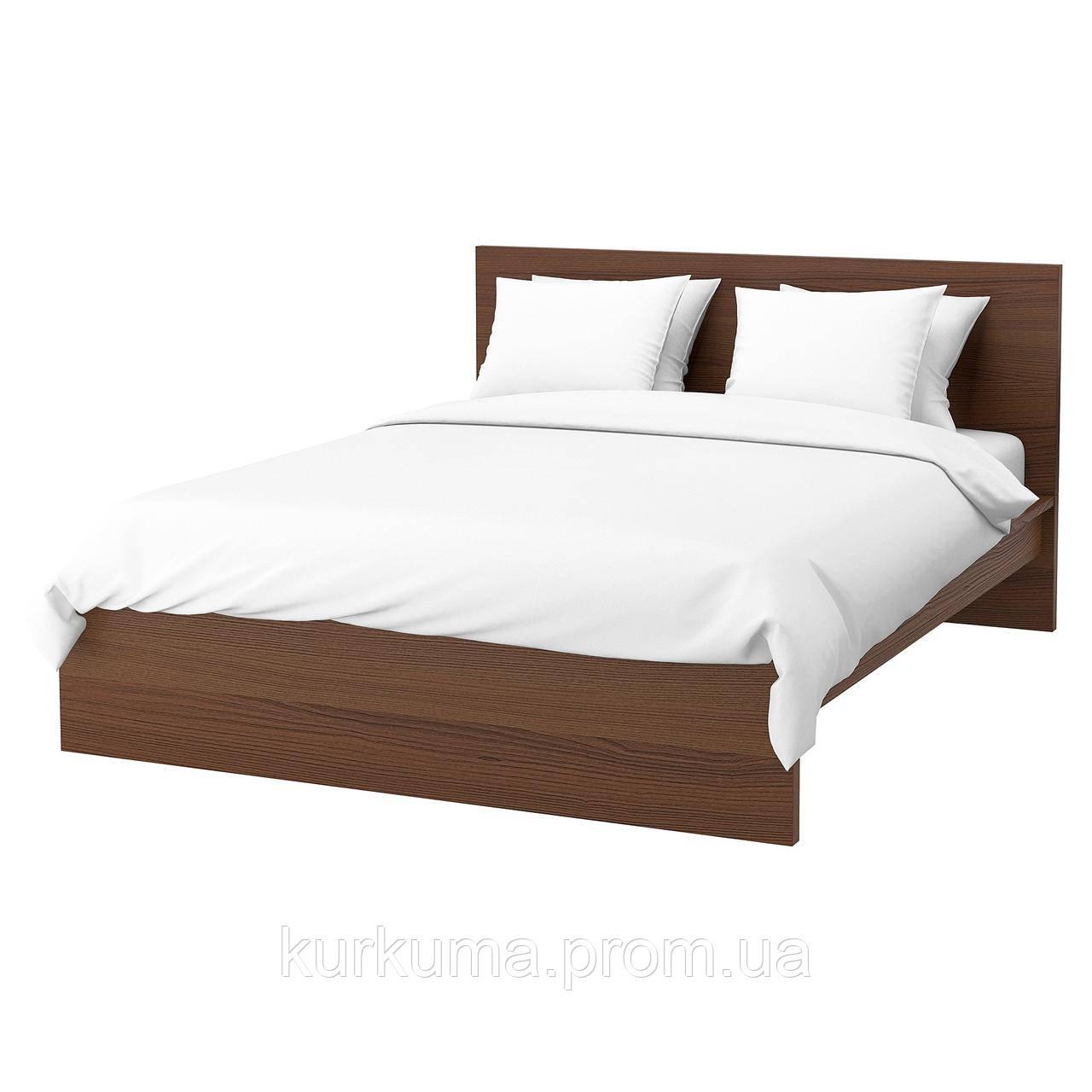 IKEA MALM Кровать высокая, коричневый шпон из окрашенного ясеня, Лонсет  (591.570.51)