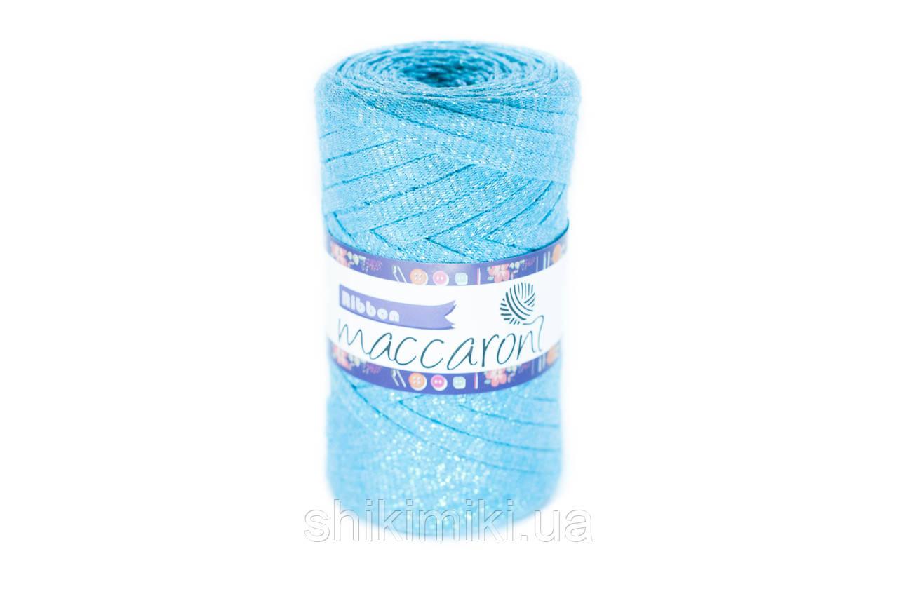 Трикотажный плоский шнур Ribbon Glitter, цвет Бирюзовый