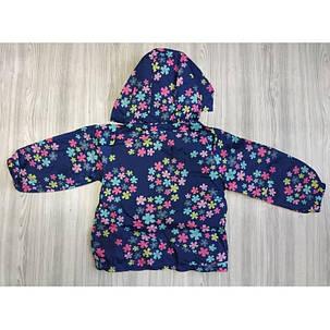 Ветровка детская на девочку с цветочками синяя весна-лето 2-6 лет , фото 2