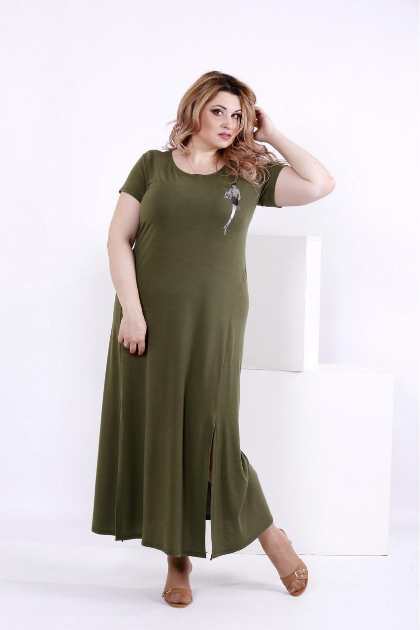 Плаття в підлогу з віскози кольору хакі великий розмір   0850-2