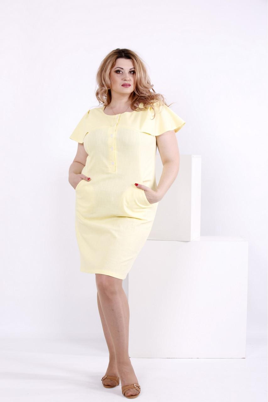 Лляне лимонне сукні | 0852-1 великий розмір