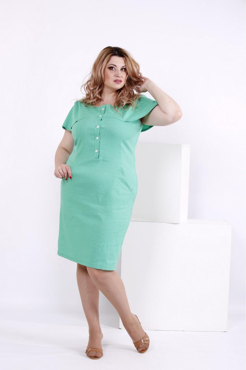 Светло-зеленое платье из льна большого размера  | 0852-2