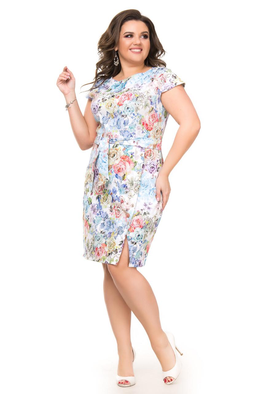 Джинсовое платье на весну в яркие цветы 50-56