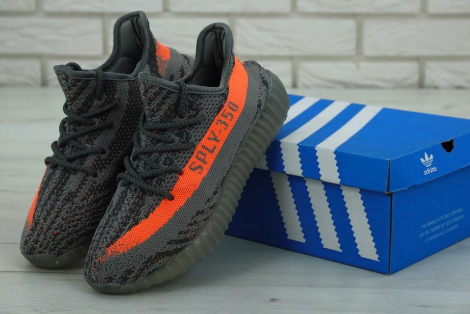 Мужские кроссовки в стиле Adidas Yeezy Boost 350 V2 Grey/Orange (41, 42, 43, 44, 45 размеры)