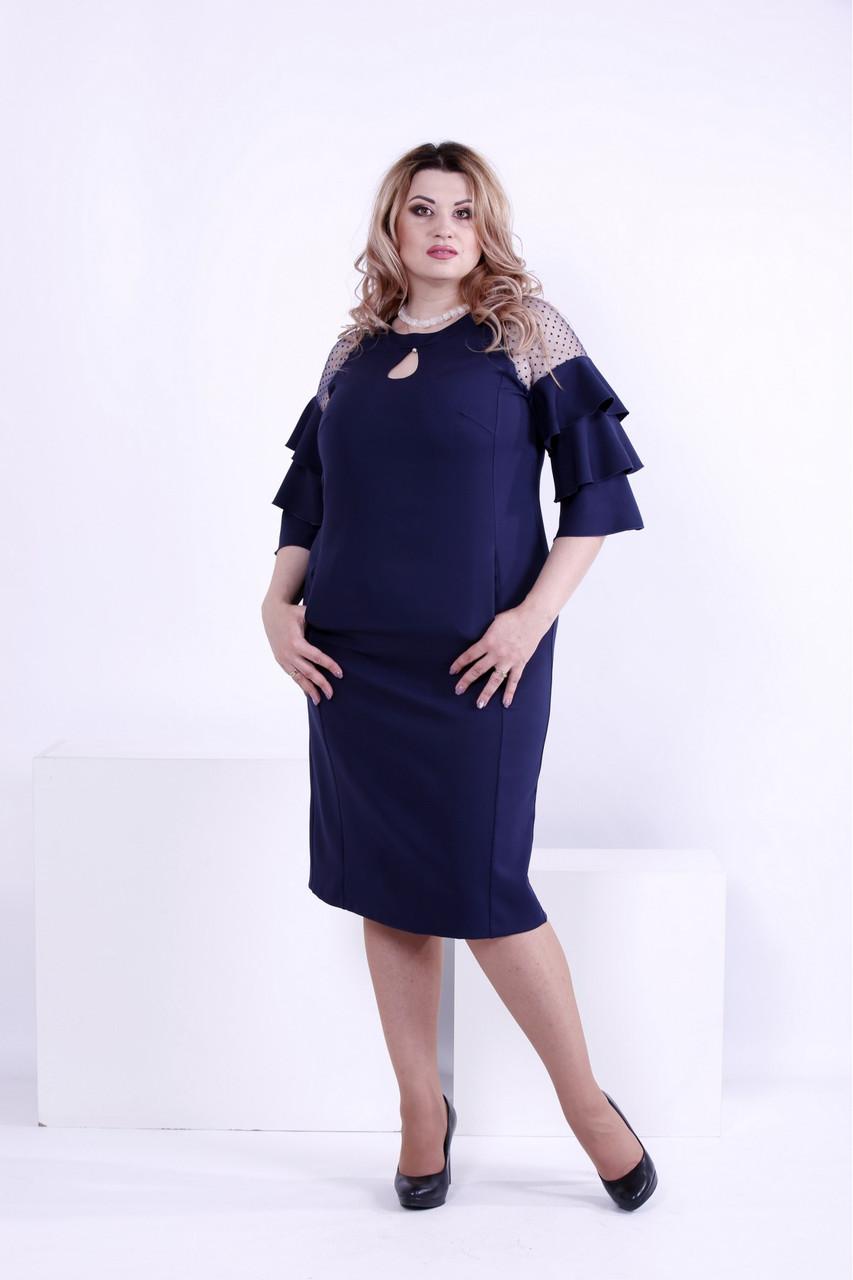 Синее платье из костюмки большого размера 42-74