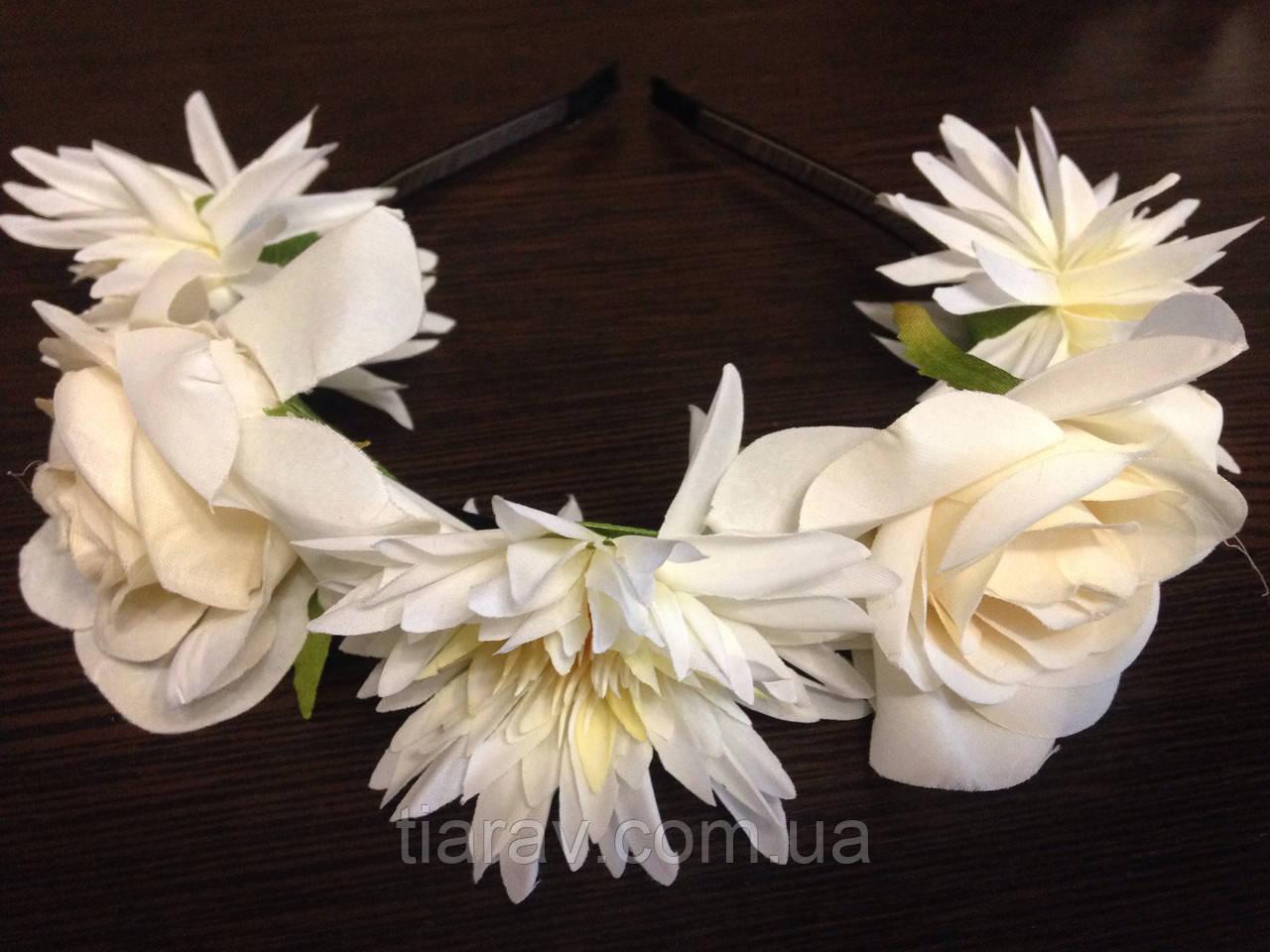 Обруч для волос с цветами, ободок, венок на голову с цветами