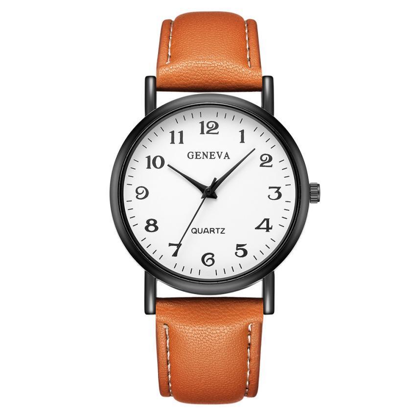 Женские наручные часы Geneva с белым циферблатом и коричневым ремешком