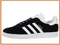 Мужские низкие замшевые кроссовки Adidas Gazelle Black White (адидас газели, черные / белые)