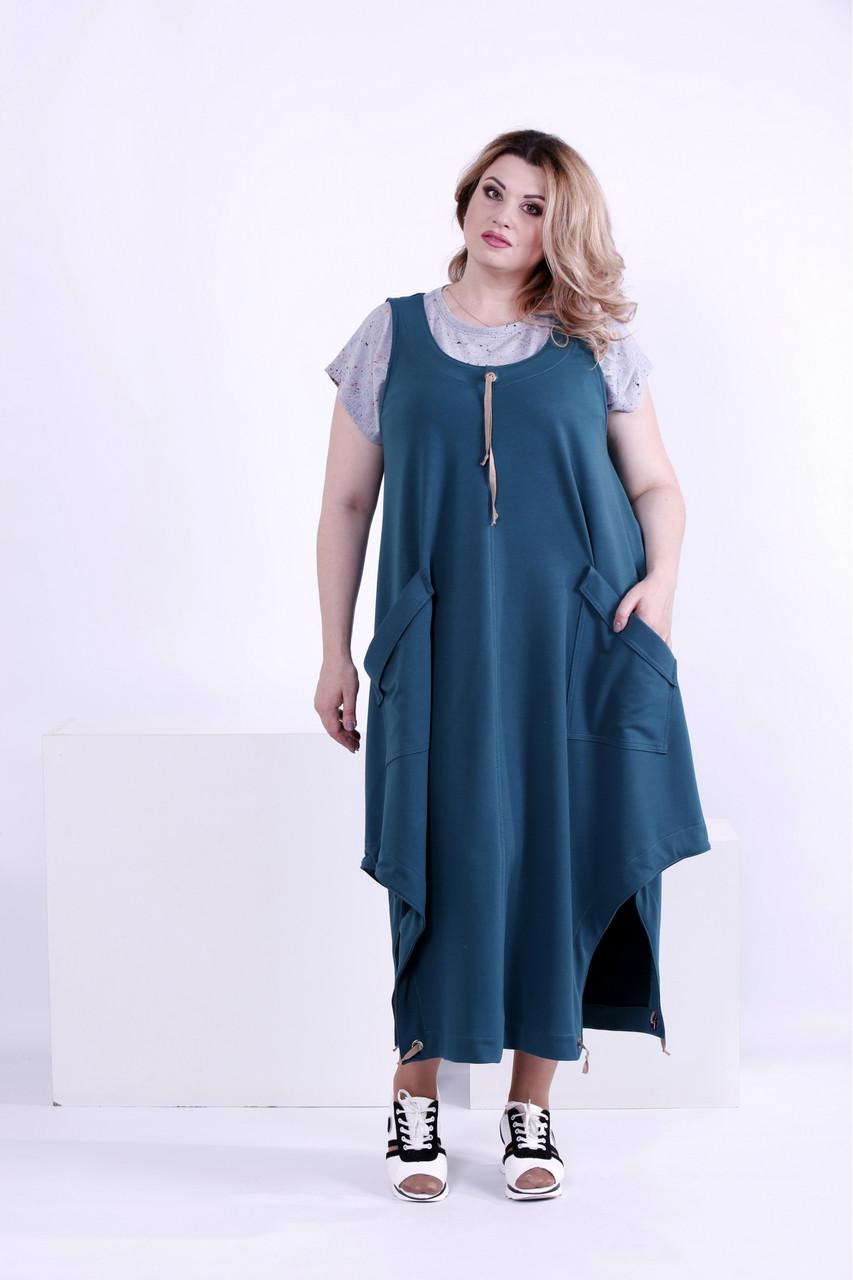 Зеленое длинное платье  (футболка отдельно) батал   0879-1