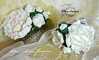"""Комплект украшений """"Белые пионы"""" из полимерной глины. браслет + гребень , фото 1"""