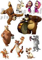 """Вафельная картинка для торта, кондитерских изделий """"Маша и Медведь"""", топпер, пряник, декор (лист А4) Маша и другие"""