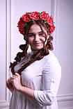 Обруч для волосся Червоні Троянди Великі квіти з фоамирана, фото 2