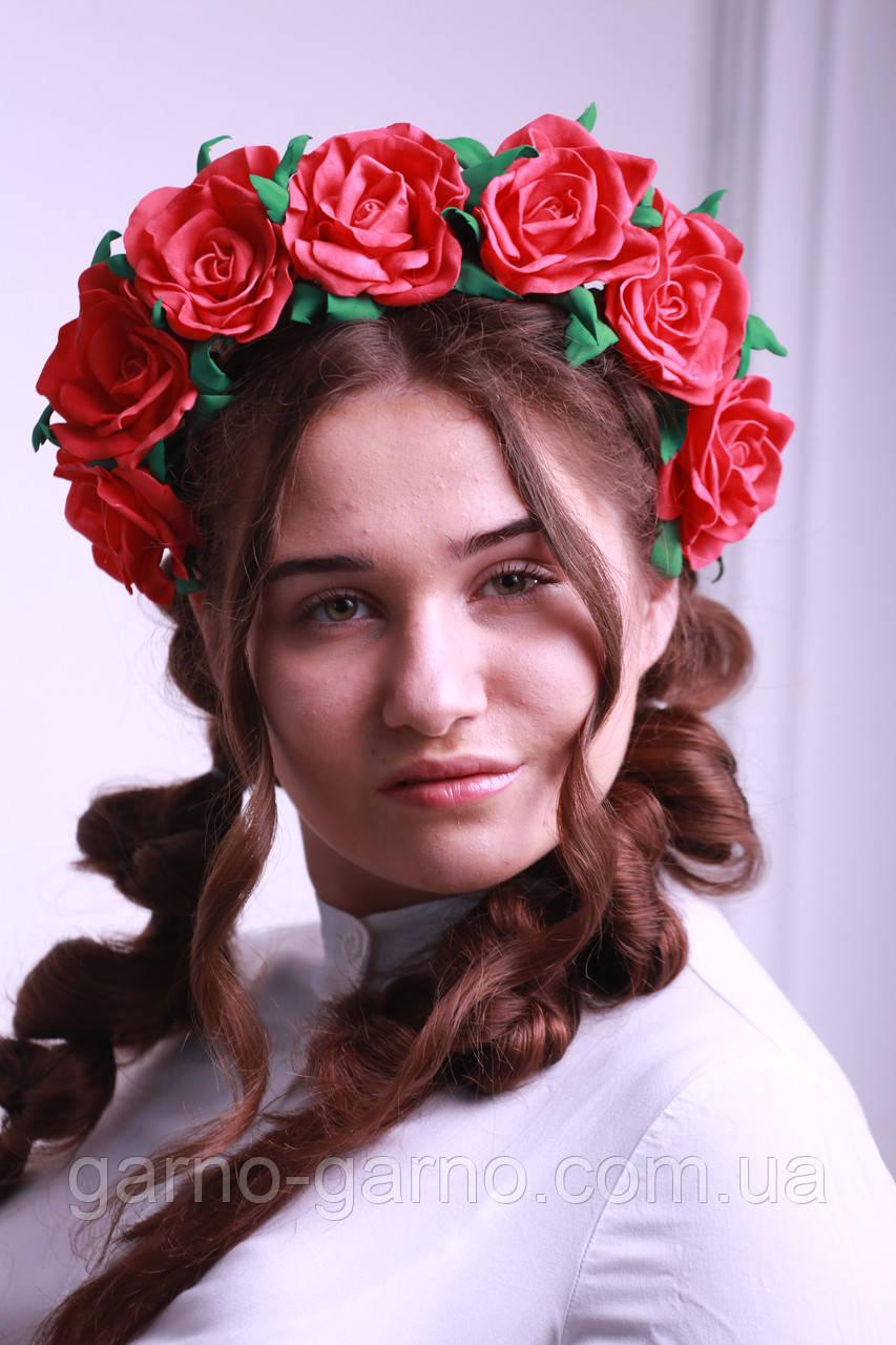 Обруч для волосся Червоні Троянди Великі квіти з фоамирана