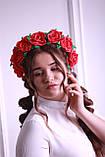 Обруч для волосся Червоні Троянди Великі квіти з фоамирана, фото 5