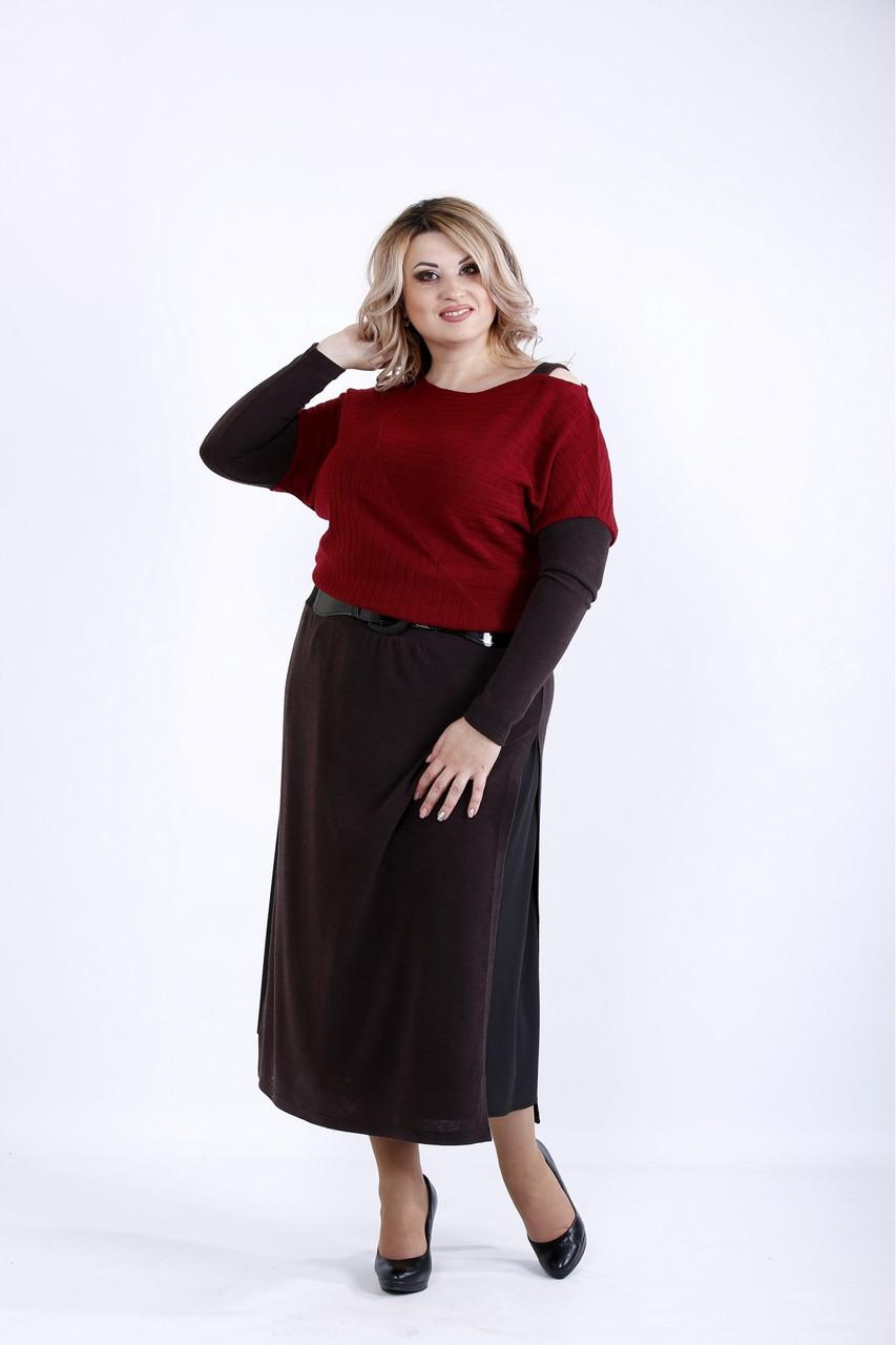| Бордове плаття великого розміру 42-74.