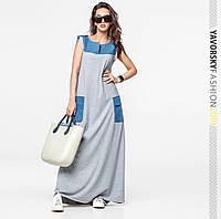 efaab6d3218 Платье Yavorsky Джерси в пол свободного кроя с карманами и вставками деним  Smy3133
