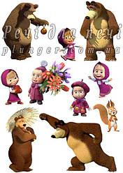 """Вафельная картинка для торта, кондитерских изделий """"Маша и Медведь"""", топпер, пряник, декор (лист А4) Маша и другие 2"""