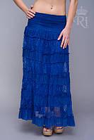 Женская летняя юбка гипюр хлопок на резинке
