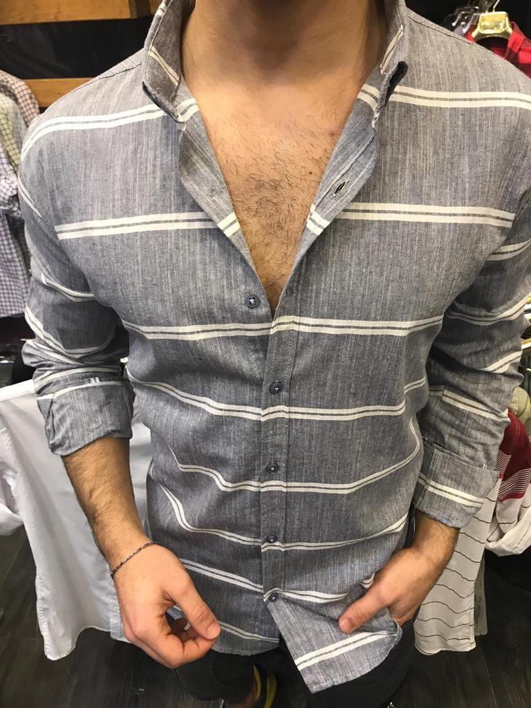 😜Мужская рубашка в тонкую полоску белая Серый