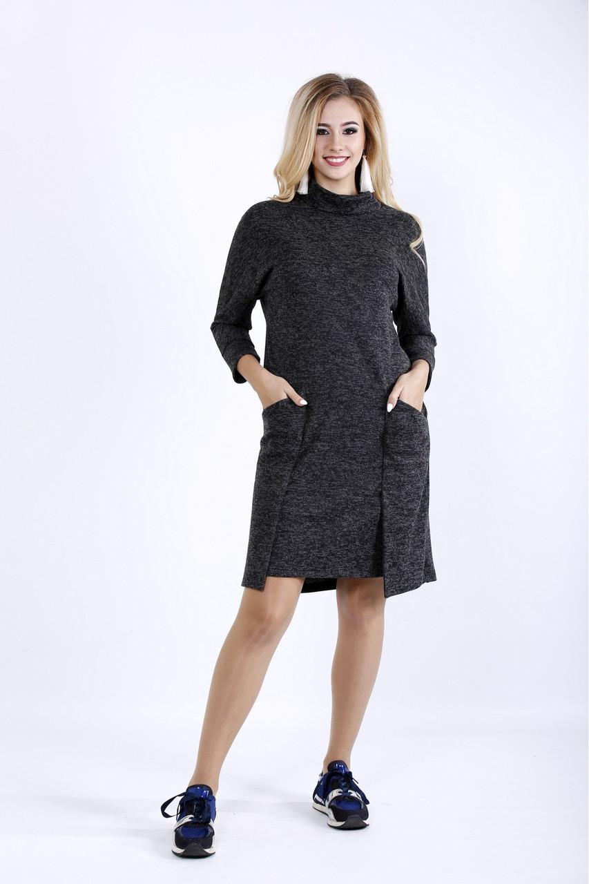 0900-1   Практичное темное платье до колена из ангоры
