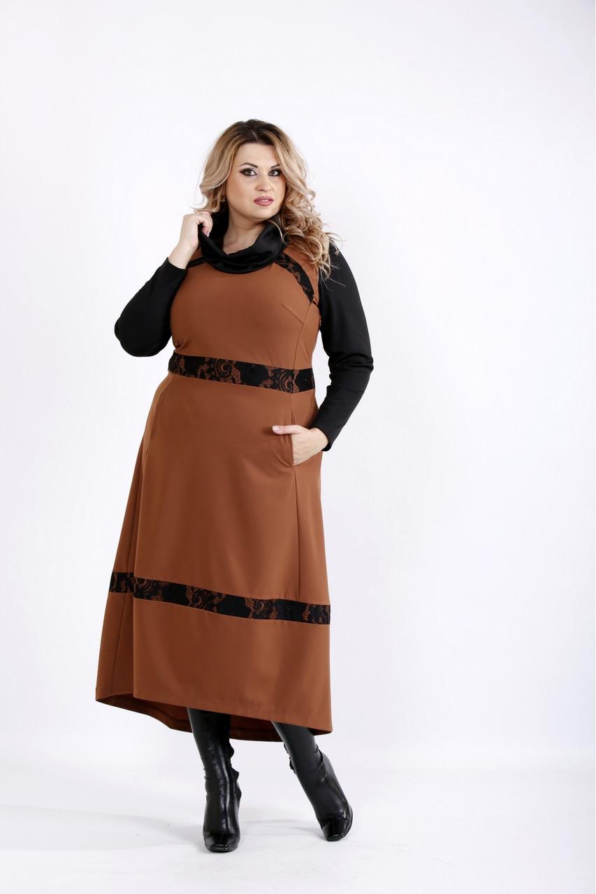 Довга сукня кольору віскі великого розміру 42-74.