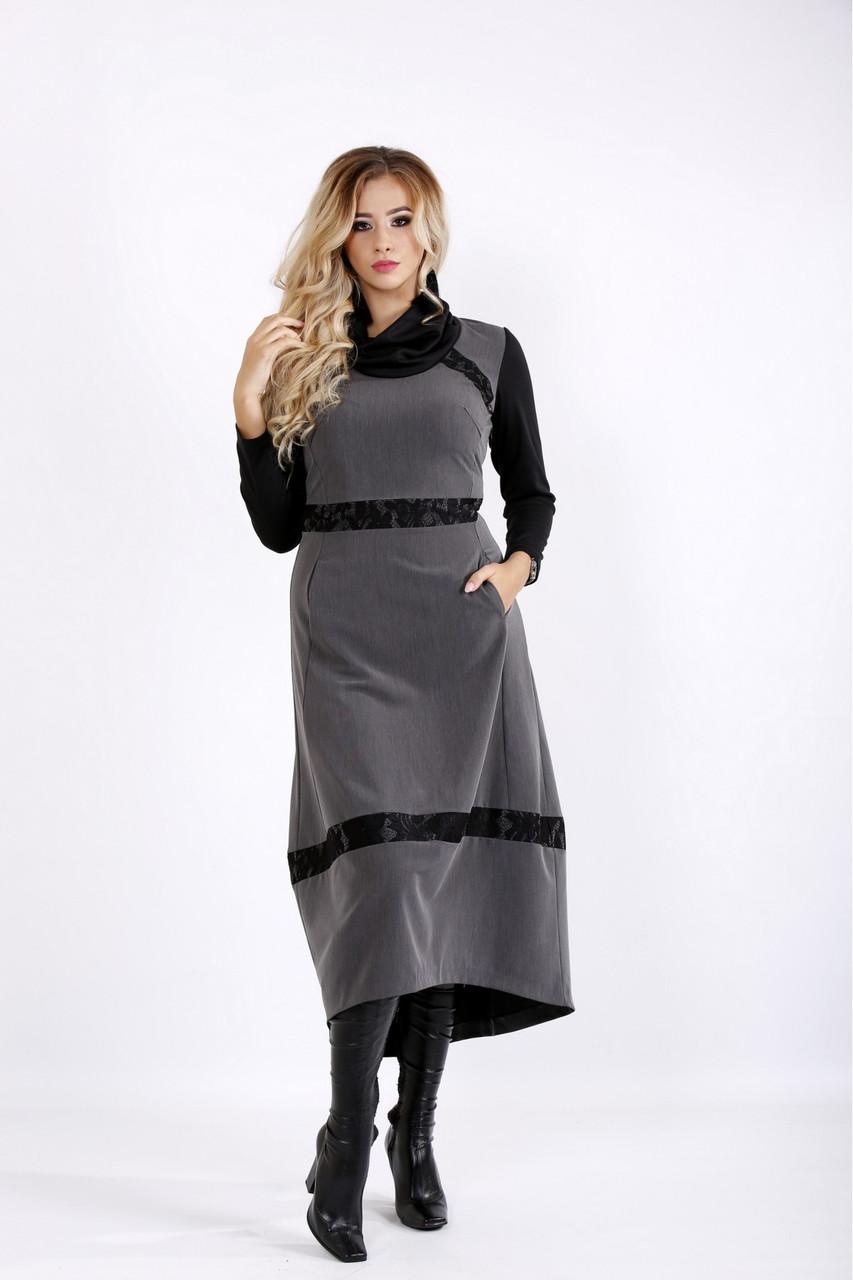Осеннее серое платье ниже колена большого размера 42-74.  | 0904-3