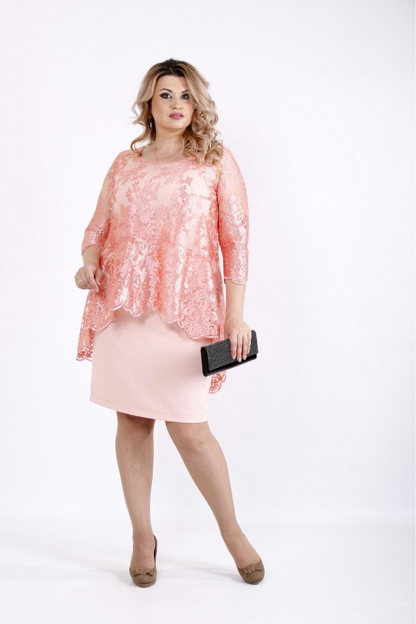 Платье пудра до колена с гипюром большого размера 42-74.    0907-2