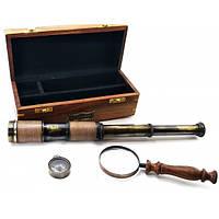 Лупа з компасом і підзорна труба в дерев'яному футлярі (23х9,5х8,5 см)