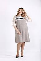 Светлое свободное платье до колена большой размер | 0909-2