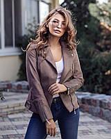 Куртка косуха женская стильная эко кожа на замше люкс качество разные цвета Gf927, фото 1