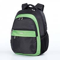 Рюкзак школьный ортопедический мальчику 1-4 класс городской черно-зеленый Dolly 524 30х39х21 см, фото 1