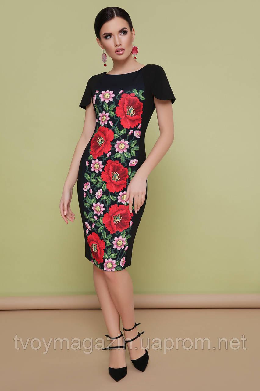 Черное платье с цветочным принтом в  украинском стиле Чорна сукня з квітковим принтом