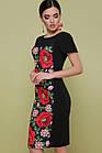 Черное платье с цветочным принтом в  украинском стиле Чорна сукня з квітковим принтом , фото 3