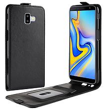 Кожаный чехол флип для Samsung Galaxy J6 Plus 2018 J610 черный