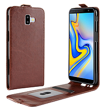 Кожаный чехол флип для Samsung Galaxy J6 Plus 2018 J610 коричневый