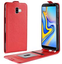 Кожаный чехол флип для Samsung Galaxy J6 Plus 2018 J610 красный